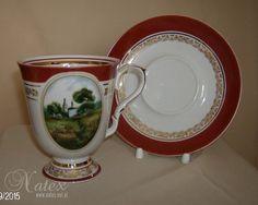 porcelana rosyjska - żKubek ze spodkiem rys Pejzazek  600 ml
