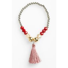 Women's Topshop Faceted Bead & Tassel Stretch Bracelet ($12) ❤ liked on Polyvore featuring jewelry, bracelets, topshop, tassel jewelry, bead jewellery, topshop jewelry and facet jewelry
