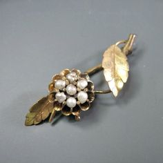 Antique Victorian Pearl Flower Brooch from WickedDarling