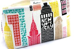Featuring a one-of-a-kind print of New York City and its famous skyline, this handmade cosmetics bag is the perfect accessory and makes a great stocking stuffer gift idea!