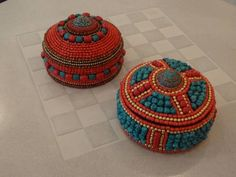 """Decorative Beaded Boxes made of bone glass and brass (4""""h x 7""""dia)"""
