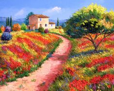 France Country Landscape - Jean Marc Janiaczyk, Landscape Painting with palette knife Classic Paintings, Beautiful Paintings, Beautiful Landscapes, House Landscape, Landscape Art, Landscape Paintings, Oil Paintings, Watercolor Paintings, France Country