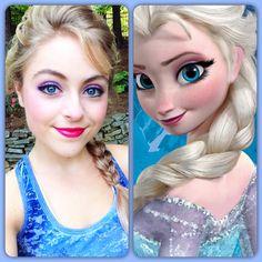 Disney's Elsa makeup tutorial - for disneyworld next Halloween! Elsa Makeup Tutorial, Makeup Tutorials, Disney Princess Makeup, Disney Makeup, Anna Makeup, Kiss Makeup, Makeup Art, Eye Makeup, Disney Halloween Makeup