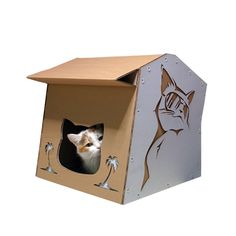 Cardboard Cat Furniture For People and Pets by CacaoFurniture Cardboard Cat House, Cardboard Art, Dog Playpen, Dog Beds For Small Dogs, Cat Cave, Cat Condo, Unique Cats, Cat Furniture, Cat Gifts