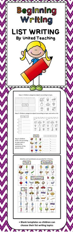 Beginning Writing - List Writing >> Differentiated activities to teach list writing to beginning writers.