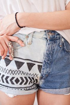 Tribal Jean Shorts | Make these awesome shorts with some bleach and a sharpie.