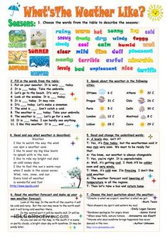 Seven different exercises on the topic.Key is included. Thank you!!! - ESL worksheets