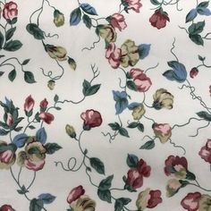 VTG #Upholstery #Waverly Bettina #Fabric Floral 2.5 Yd x 54 Chintz Cream Cotton