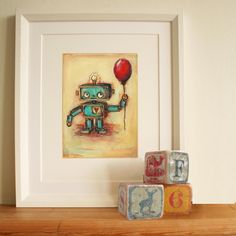 We adore this robot wall art from @Jenny Dale Designs for a nursery or child's room! #walldecor #nursery #bigkidroom