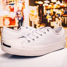dbe479bacbcd Converse Jack Purcell open mouth smile leather black and white canvas black  and white 84