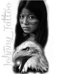 India e águia Preto e cinza Bull Tattoos, Eagle Tattoos, Body Art Tattoos, American Indian Art, Native American Art, Photoshop Tattoo, Indian Tattoo Design, Tribal Makeup, Black And White Drawing