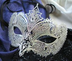 Venetian Mask Embellished with Rhinestones by marypearlsvintage Stampington Prompt - something handmade and covered in glitter. I am not much of a glitter gal, but this this lovely :) national-craft-month Masquerade Wedding, Masquerade Ball, Mascarade Mask, Edgar Allan Poe, Venetian Masks, Venetian Masquerade, Cool Masks, Carnival Masks, Beautiful Mask