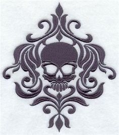 Embroidery Library! - Damask skull
