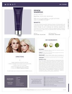 MONAT Renew Shampoo will moisturize your dry tresses and help bring balance back to your hair. Regrows, restores, repairs. www.haircanada.net