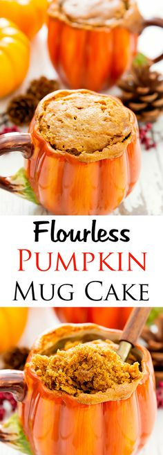 Flourless Pumpkin Mug Cake. Ready in 10 minutes! Single serving flourless pumpkin mug cake that is cooked in the microwave and ready in less than 10 minutes from start to finish. Low Carb Mug Cakes, Keto Mug Cake, Low Carb Desserts, Low Carb Recipes, Healthy Recipes, Jello Desserts, Healthy Foods, Mug Recipes, Pumpkin Recipes
