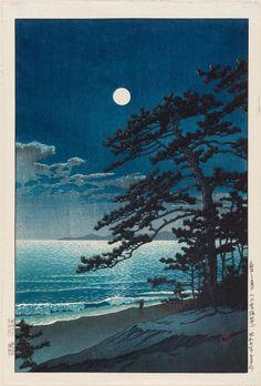 Kawase Hasui (Japan, 1883–1957), Spring Moon at Ninomiya Beach, 1932, woodblock print, Boston Museum of Fine Arts