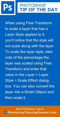 When using Free Transform to scale a layer that has a Layer Style applied to it, you'll notice that the style will not scale along with the layer. To scale the layer style, take note of the percentage the layer was scaled using Free Transform and enter that value in the Layer > Layer Style > Scale Effect dialog box. You can also convert the layer into a Smart Object and then scale it. http://photoshoptrainingchannel.com/tips/scale-effects/