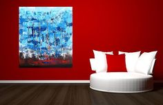 Blue brown red textured abstract with gold by ArtPauletteMcGraw