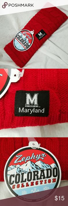 """ZEPHYR *nwt* Deep Red 'Maryland' Winter Head Band Brand: Zephyr  Item: *NWT Head Band Wrap with a Maryland Patch *Cable Sweater Knit Texture *Halogram On Tag 'Official Licensed Collegiate Product' *Measures: 10""""w x 4""""h  *no trades, offers via offer button only* Zephyr Accessories Scarves & Wraps"""