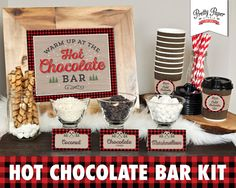 Printable hot chocolate bar kit in lumberjack buffalo plaid. Hosting a gathering this winter? Treat your guests to the growing trend of a hot chocolate bar! A great addition to any birthday party, baby shower, Christmas party, wedding, bridal shower, etc. Simply print, trim, and display! This printable kit includes everything needed to set up a beautiful display including: -Warm Up at the Hot Chocolate Bar table sign -Brrr its Cold Outside cup tags - Blank folding labels - 12 pre-designed…