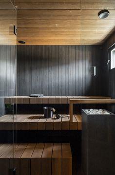 Sauna House, Sauna Room, Indoor Sauna, Sauna Design, Finnish Sauna, Atrium House, Roof Shapes, Glass Facades, Scandinavian Interior