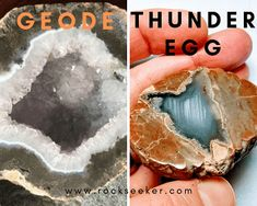 Kind of like geodes, but with one major difference. If you want to learn more about thundereggs, then here's everything you'll need to know. Minerals And Gemstones, Crystals Minerals, Rocks And Minerals, Natural Gemstones, Diy Crystals, Stones And Crystals, Gem Stones, Gem Hunt, Geode Rocks