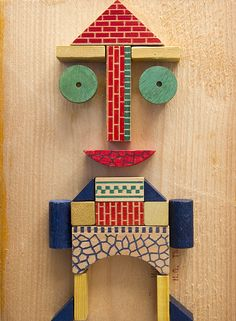 Happy figure Made from old wooden blocks. #playeveryday