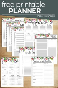 Floral planner free printable. Coordinating planner pages to print for free that are cute and will save you money so you don't need to buy a planner. Printable Day Planner, Monthly Planner Template, To Do Planner, Printable Paper, Happy Planner, 2015 Planner, Blog Planner, Schedule Printable, Menu Planning Printable