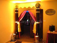 Entrance decor of arabian theme Arabian Nights Prom, Arabian Nights Theme Party, Arabian Theme, Aladdin Play, Aladdin Musical, Gypsy Party, Entrance Decor, Trunk Or Treat, Father Daughter Dance