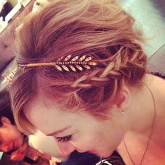 Crystal Feather Braided Hairstyle :: Jennifer Behr :: hair :: accessories :: beauty :: gold :: headwrap :: headband :: braid