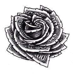 Money Rose Drawing Outline Hundred dollar bill rose floral tattoo . Gangster Tattoos, Rose Tattoos, Body Art Tattoos, Sleeve Tattoos, Floral Tattoo Design, Tattoo Designs, Design Tattoos, Floral Design, Tattoo Ideas