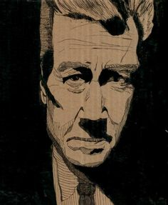 David Lynch1 Discard(board) Portraits in cardboard art  with wall art Upcycled Reused Portrait Cardboard