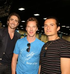 My Girl Geek Fantasy! So much hotness in one picture! Lee Pace, Benedict Cumberbatch, and Orlando Bloom