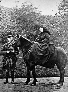 Queen Victoria with John Brown her personal servant. Oh his deathbed the Queen's chaplain Rev Norman Macleod confessed to marrying Queen Victoria and John Brown in a secret service. Queen Victoria asked for various items that had been given to her including letters between them and a ring that Brown had given to her belonging to his mother to be placed in her coffin.