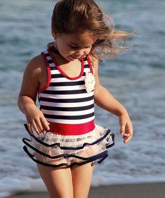 Another great find on #zulily! Navy & White Stripe One-Piece & Hat - Girls #zulilyfinds