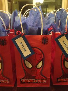 Party favors for a Spider-Man themed party. I made these!!