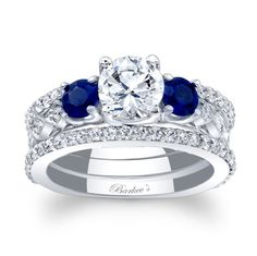 Blue sapphire and diamond bridal set from Barkev's. http://www.barkevs.com/engagement-rings/bridal-sets/blue-sapphire-bridal-set-7973sbsw.html