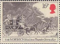 Royal Mail Postage Stamp from 1984 of The Norwich Mail in Thunderstorm, 1827 Postage Stamps Uk, Uk Stamps, Going Postal, Vintage Cards, Vintage Stamps, Royal Mail, Penny Black, Horse Art, Stamp Collecting