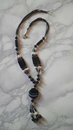 necklace with Stones pearls and miyuki mat black delicas