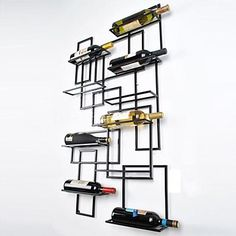 New Wall Mount Wine Racks Metal Bottle Holder Storage Home Bar Display Tools in Home & Garden, Kitchen, Dining & Bar, Bar Tools & Accessories Wine Bottle Display, Wine Glass Rack, Wine Bottles, Hanging Wine Rack, Wine Rack Wall, Wine Rack Inspiration, Unique Wine Racks, Metallic Decor, Wine Rack Design