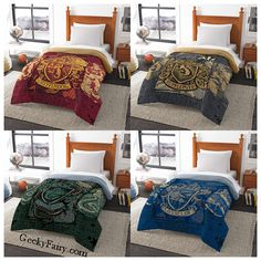 Show off your Hogwarts House pride with one of these comforter set! Gryffindor, Hufflepuff, Ravenclaw, or Slytherin.Take your pick!