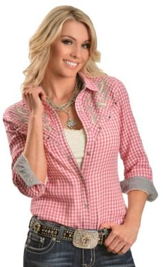 Miss Me Pink Plaid Bedecked Lace Yoke Long Sleeve Western Top available at #Sheplers