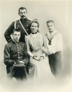 Count Felix Yussupov, Princess Zenaide, Princess Nicholas (Seated, who was later killed in a dual), and Felix (in sailor suit, who later killed Grigorii Rasputin).