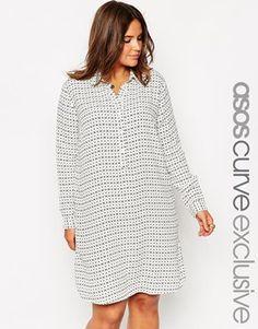 Vestido camisero con estampado geométrico a rayas y media tapeta de ASOS CURVE