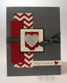 SU! Hearts a Flutter and Teeny Tiny Wishes (sentiment) stamp sets; Hearts a Flutter Framelits; Parker's Patterns DSP; colors are Cherry Cobbler, Very Vanilla, Basic Gray and Basic Black - Ingrid Blackburn