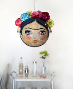 Excited to share the latest addition to my #etsy shop: Mixed Media Globe - Frida Kahlo Painting - Frida Kahlo Mixed media - Painted Globe - Home Decor - Art - Hanging Art - By PLA Schneider http://etsy.me/2n0Ffpq #art #paintedglobe #handpainted #largeglobe #fridakahlo