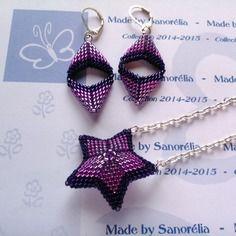 2014/047 - parure pendentif + chaine + boucle d'oreille - style etoile 3d et fleche - tissage peyote - perle en dégradé brillant  de violet,