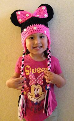 Minnie Mouse Crochet Hat with ear flaps-choose your size and colors by Shannanagans13