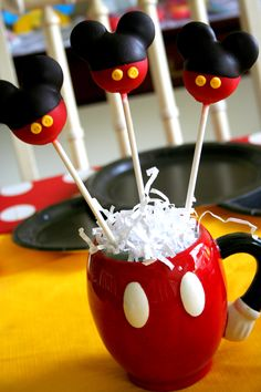 Mickey Mouse cake pops by Bella's Bakery and Bowtique  https://www.facebook.com/BellasBakeryandBowtique?fref=ts