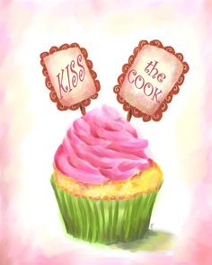 Kiss the Cook Kitchen | CUTE! Kiss the Cook cupcake art for the kitchen! | Tiff